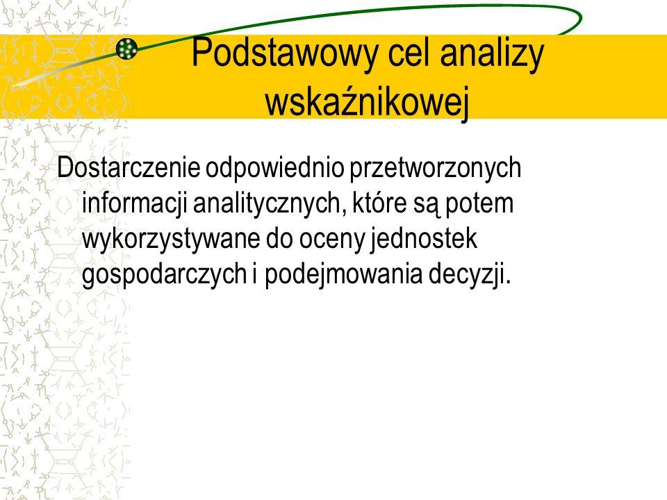 Podstawowy cel analizy wskaźnikowej Dostarczenie odpowiednio przetworzonych informacji analitycznych, które są potem wykorzystywane do oceny jednostek
