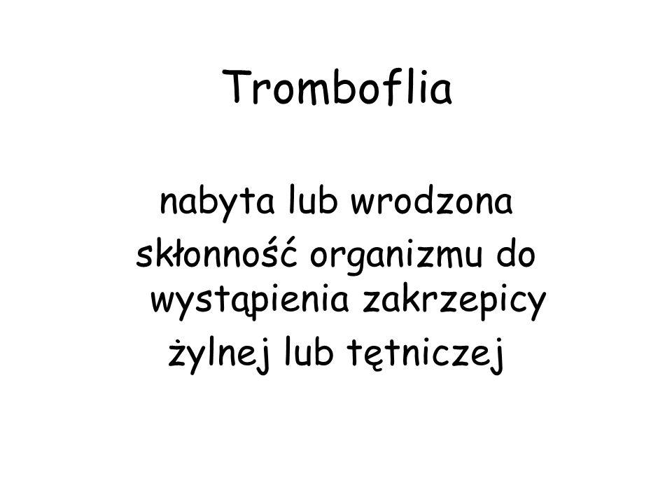 Tromboflia nabyta lub wrodzona skłonność organizmu do wystąpienia zakrzepicy żylnej lub tętniczej