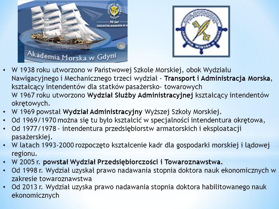 W 1938 roku utworzono w Państwowej Szkole Morskiej, obok Wydziału Nawigacyjnego i Mechanicznego trzeci wydział - Transport i Administracja Morska, ksz