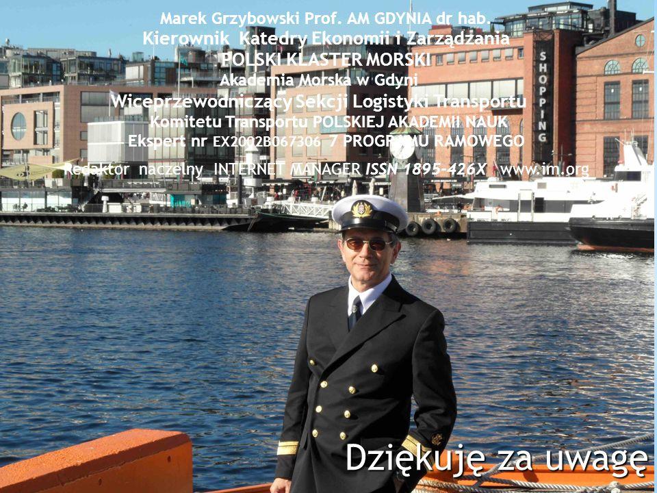 Dziękuję za uwagę Marek Grzybowski Prof. AM GDYNIA dr hab. Kierownik Katedry Ekonomii i Zarządzania POLSKI KLASTER MORSKI Akademia Morska w Gdyni Wice