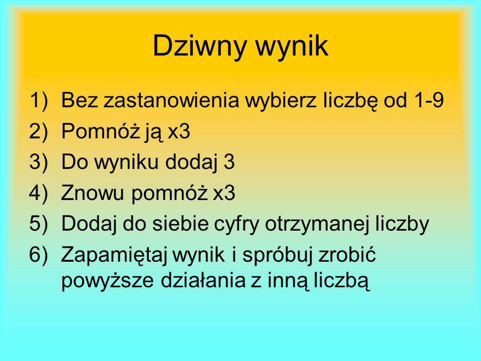 Dziwny wynik 1)Bez zastanowienia wybierz liczbę od 1-9 2)Pomnóż ją x3 3)Do wyniku dodaj 3 4)Znowu pomnóż x3 5)Dodaj do siebie cyfry otrzymanej liczby