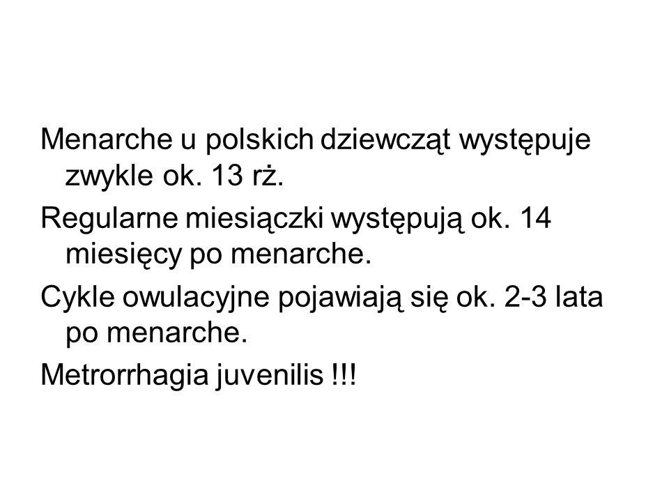 Menarche u polskich dziewcząt występuje zwykle ok. 13 rż. Regularne miesiączki występują ok. 14 miesięcy po menarche. Cykle owulacyjne pojawiają się o