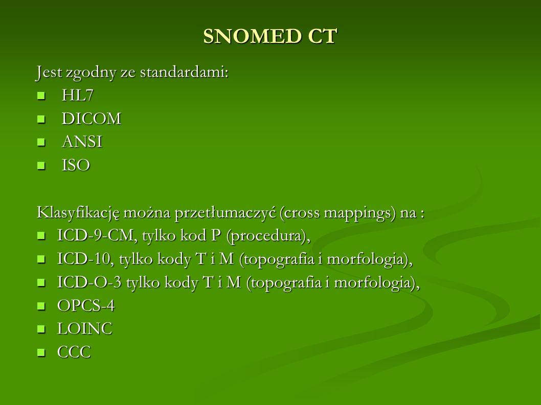 SNOMED CT Jest zgodny ze standardami: HL7 HL7 DICOM DICOM ANSI ANSI ISO ISO Klasyfikację można przetłumaczyć (cross mappings) na : ICD-9-CM, tylko kod