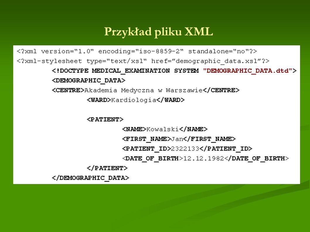 Przykład pliku XML
