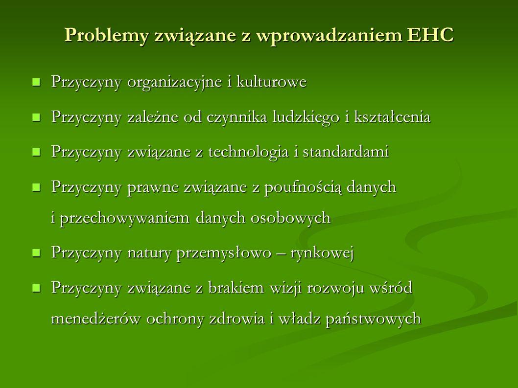 Problemy związane z wprowadzaniem EHC Przyczyny organizacyjne i kulturowe Przyczyny organizacyjne i kulturowe Przyczyny zależne od czynnika ludzkiego