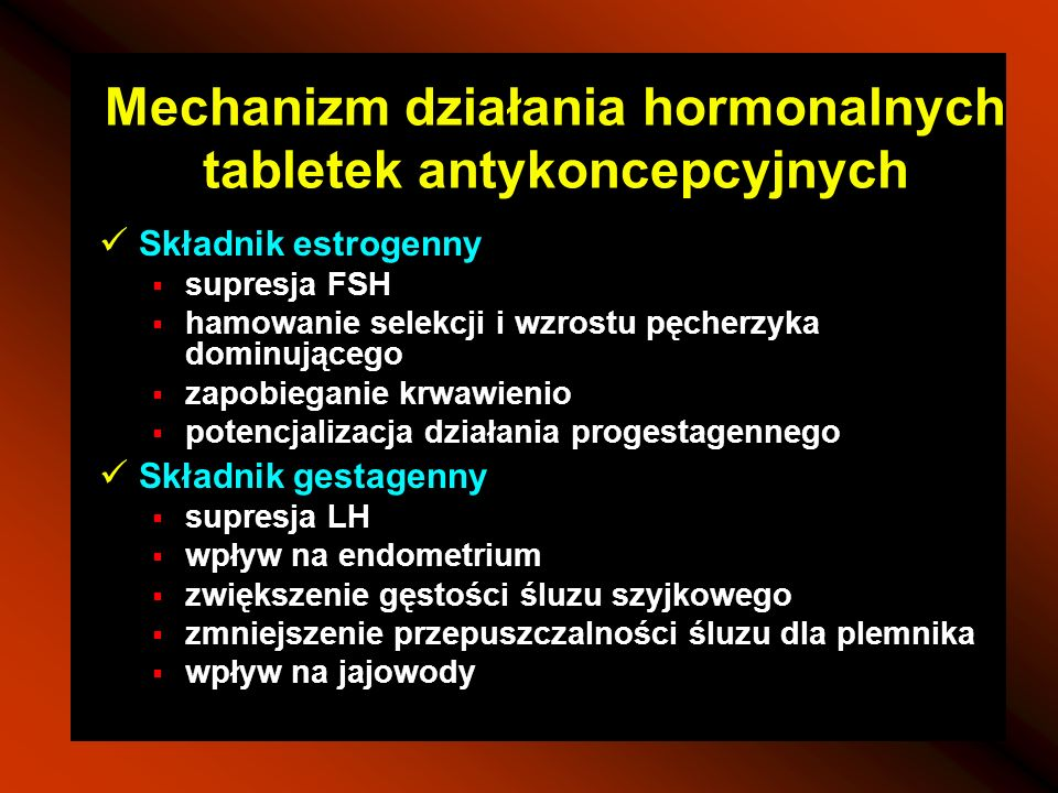 Mechanizm działania hormonalnych tabletek antykoncepcyjnych Składnik estrogenny supresja FSH hamowanie selekcji i wzrostu pęcherzyka dominującego zapo