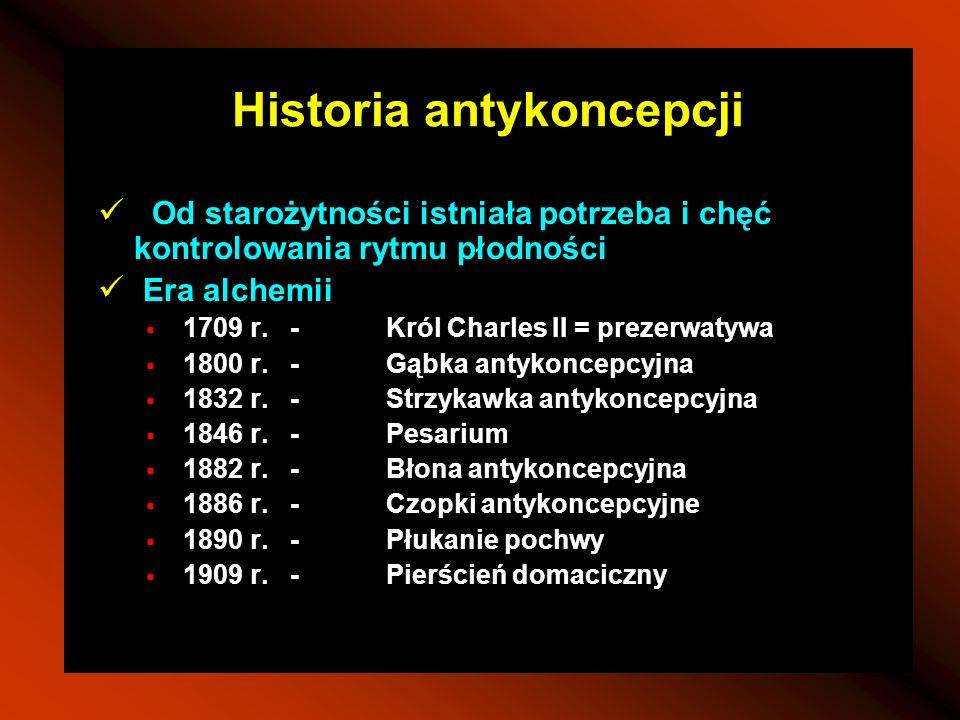Historia antykoncepcji Od starożytności istniała potrzeba i chęć kontrolowania rytmu płodności Era alchemii 1709 r.-Król Charles II = prezerwatywa 180