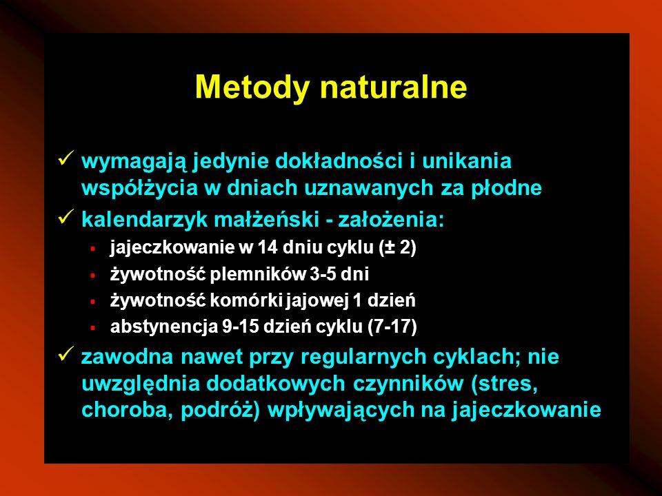 Metody naturalne wymagają jedynie dokładności i unikania współżycia w dniach uznawanych za płodne kalendarzyk małżeński - założenia: jajeczkowanie w 1