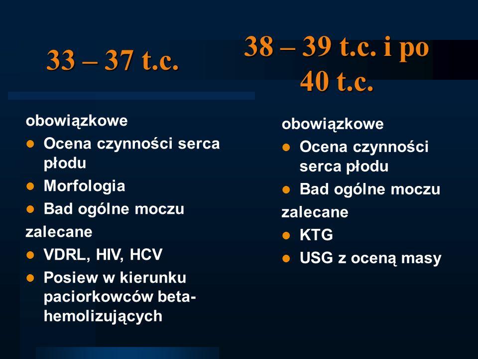 33 – 37 t.c. obowiązkowe Ocena czynności serca płodu Morfologia Bad ogólne moczu zalecane VDRL, HIV, HCV Posiew w kierunku paciorkowców beta- hemolizu
