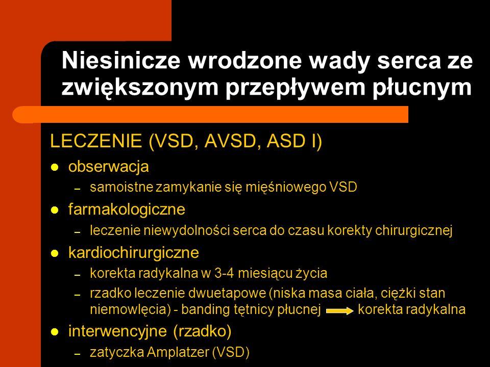 Niesinicze wrodzone wady serca ze zwiększonym przepływem płucnym LECZENIE (VSD, AVSD, ASD I) obserwacja – samoistne zamykanie się mięśniowego VSD farm