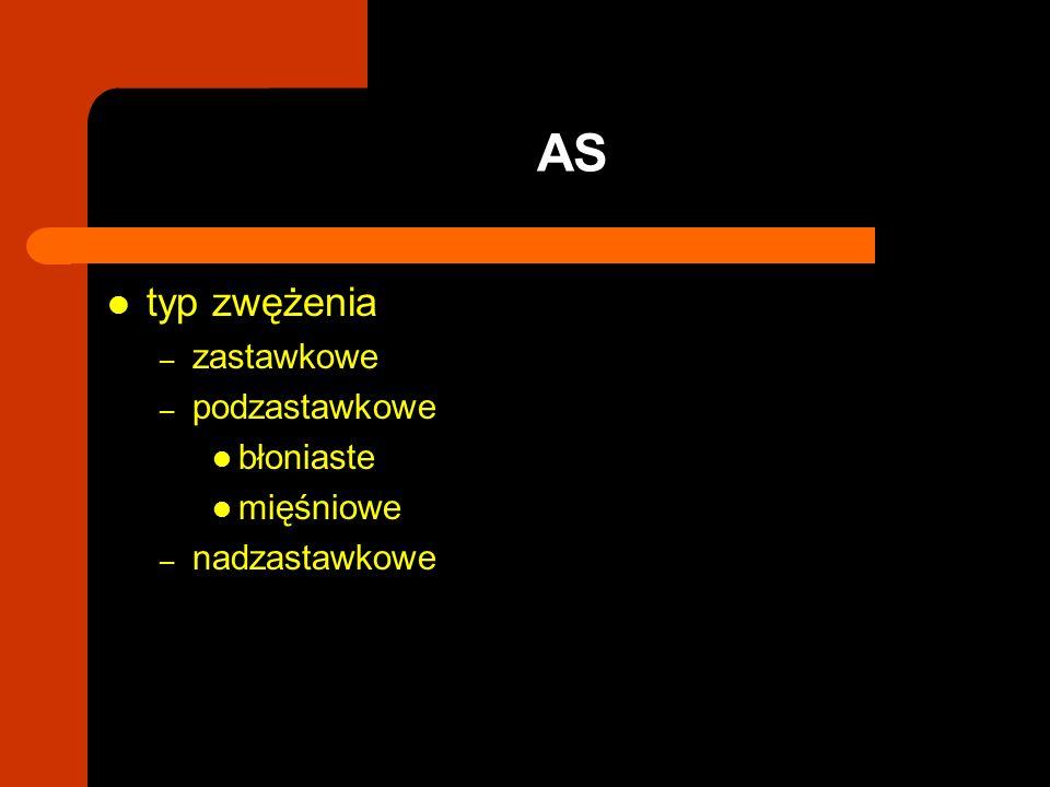 typ zwężenia – zastawkowe – podzastawkowe błoniaste mięśniowe – nadzastawkowe AS