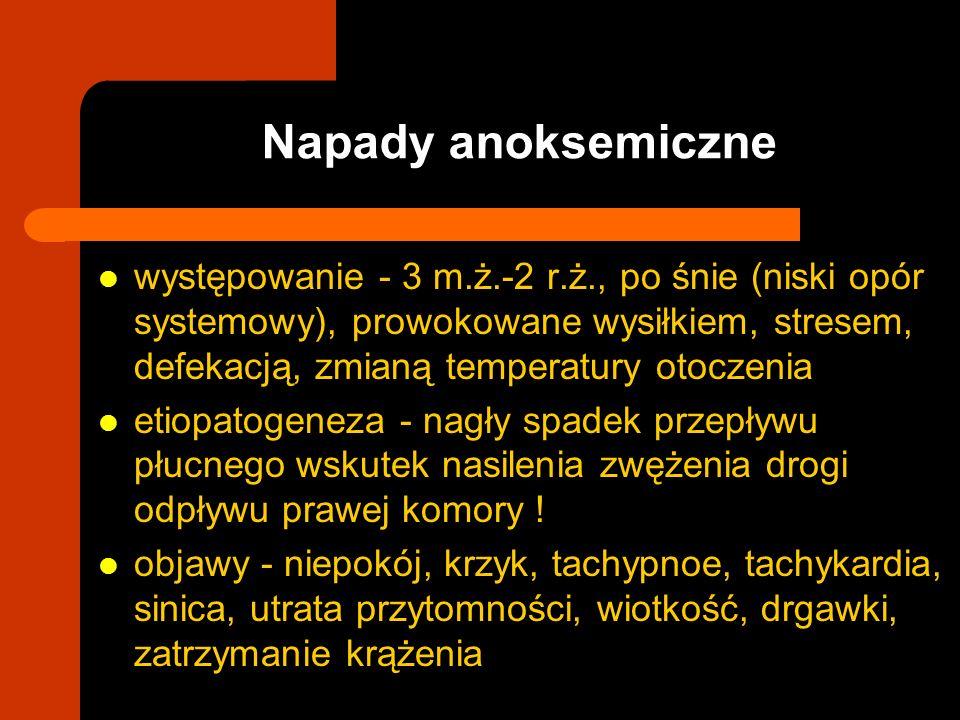 Napady anoksemiczne występowanie - 3 m.ż.-2 r.ż., po śnie (niski opór systemowy), prowokowane wysiłkiem, stresem, defekacją, zmianą temperatury otocze