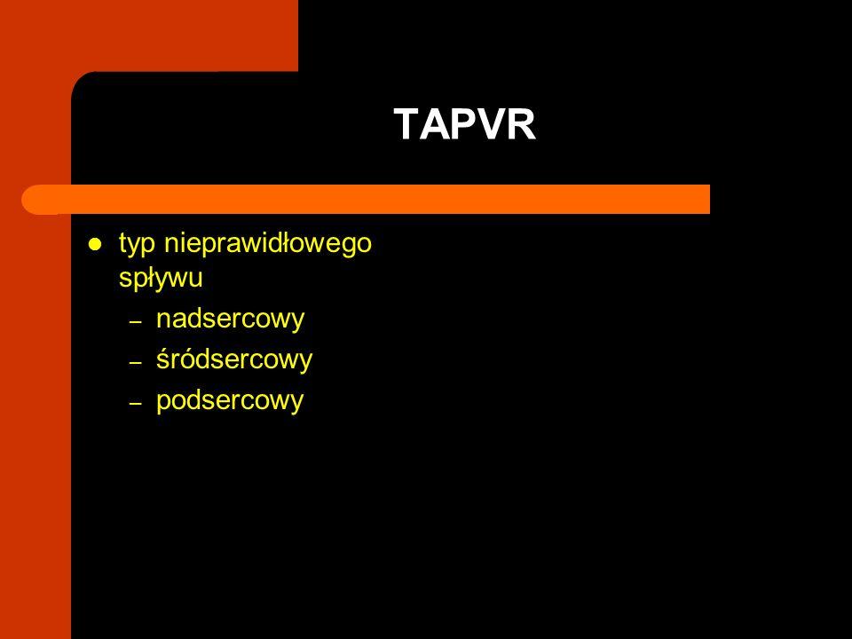 typ nieprawidłowego spływu – nadsercowy – śródsercowy – podsercowy TAPVR