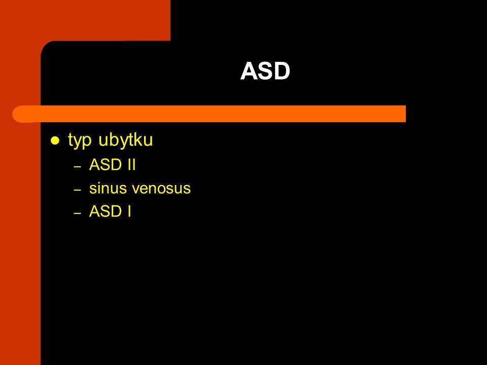 typ ubytku – ASD II – sinus venosus – ASD I ASD