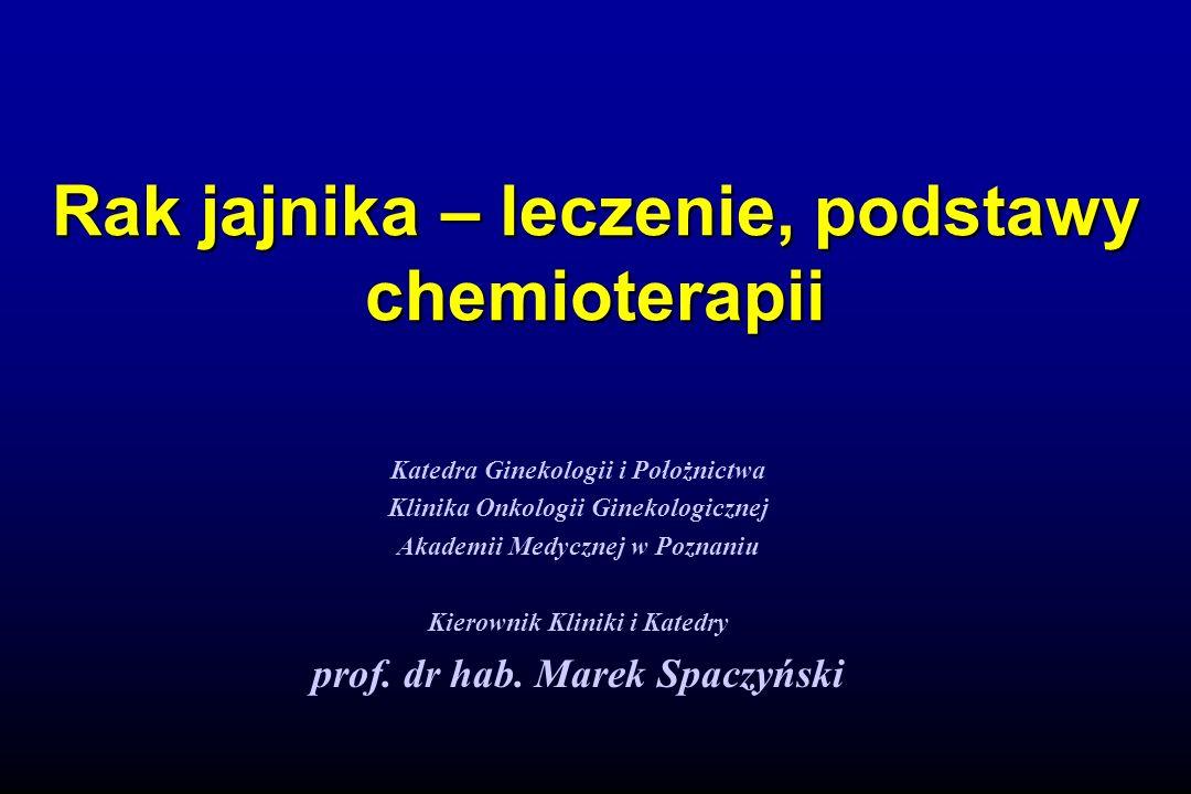 Rak jajnika – leczenie, podstawy chemioterapii Katedra Ginekologii i Położnictwa Klinika Onkologii Ginekologicznej Akademii Medycznej w Poznaniu Kiero
