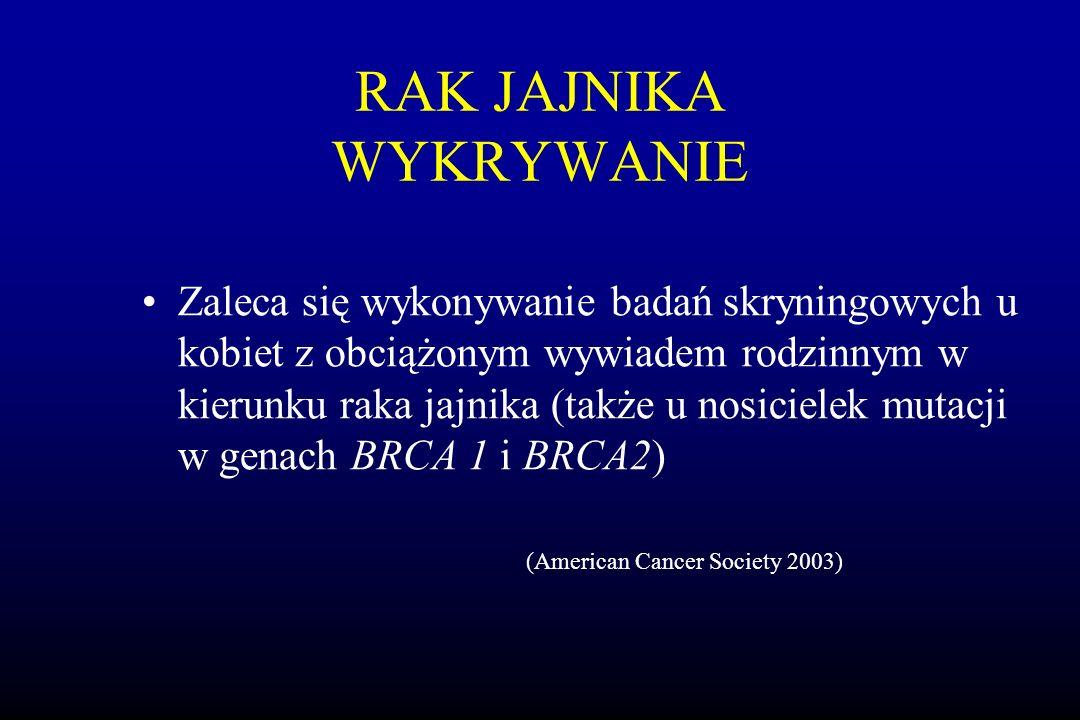 RAK JAJNIKA WYKRYWANIE Zaleca się wykonywanie badań skryningowych u kobiet z obciążonym wywiadem rodzinnym w kierunku raka jajnika (także u nosicielek