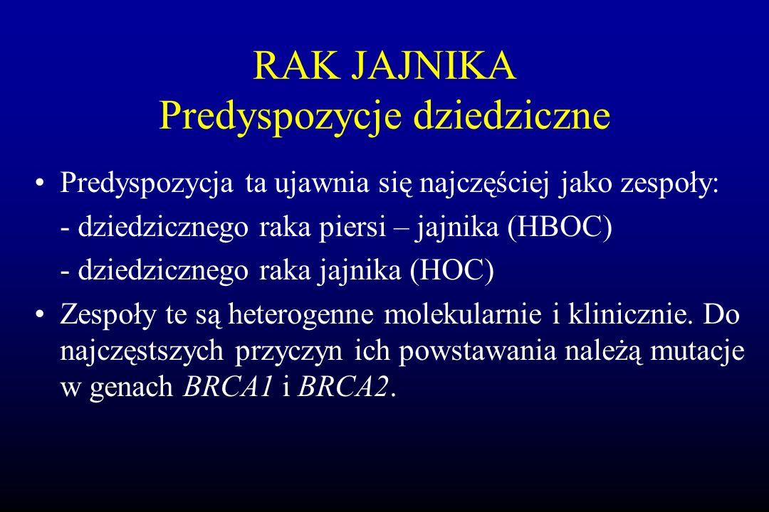 RAK JAJNIKA Predyspozycje dziedziczne Predyspozycja ta ujawnia się najczęściej jako zespoły: - dziedzicznego raka piersi – jajnika (HBOC) - dziedziczn