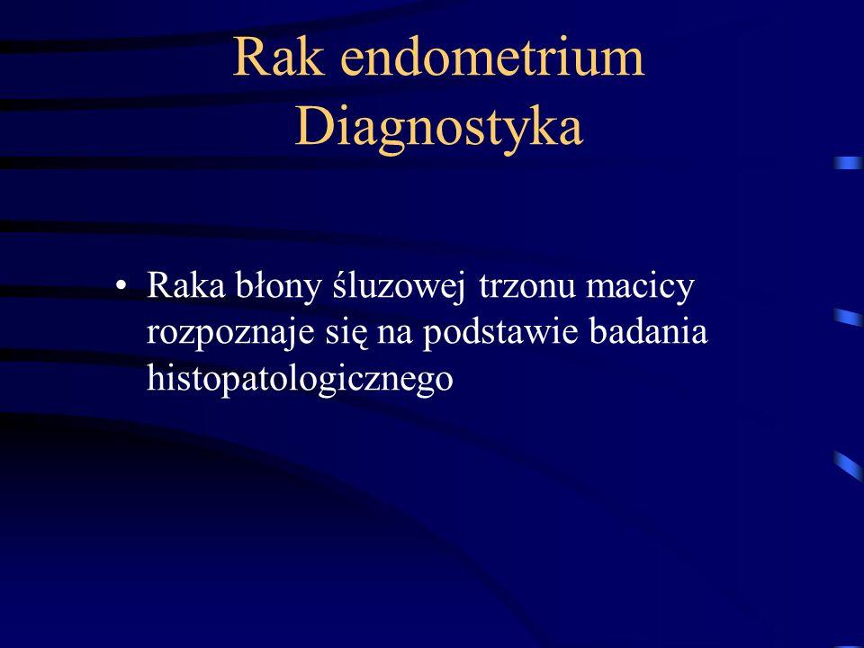 Rak endometrium Diagnostyka Raka błony śluzowej trzonu macicy rozpoznaje się na podstawie badania histopatologicznego