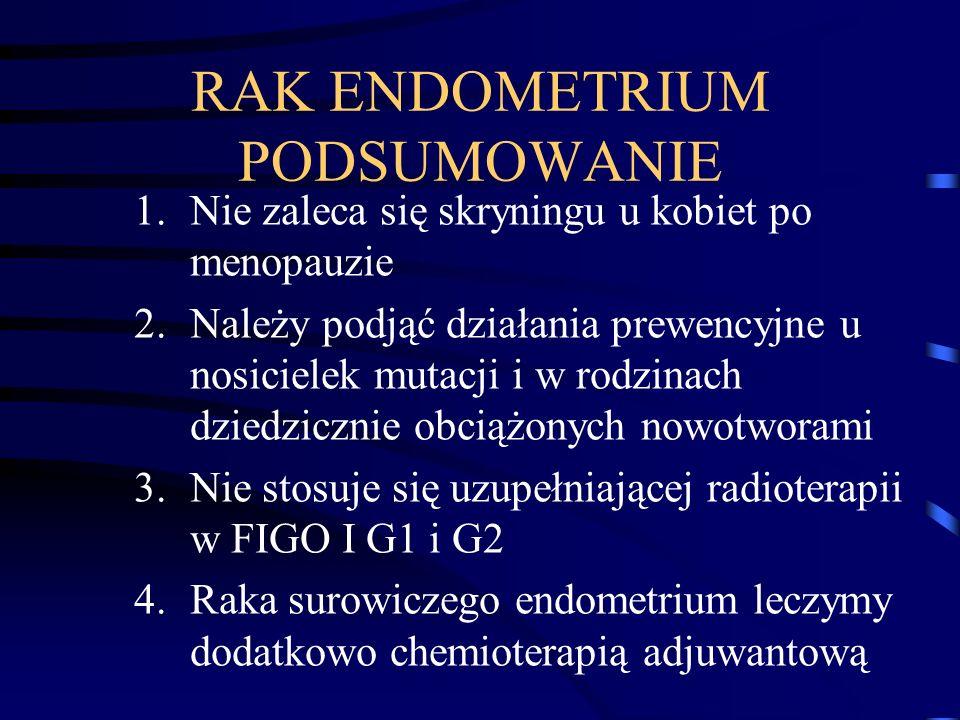 RAK ENDOMETRIUM PODSUMOWANIE 1.Nie zaleca się skryningu u kobiet po menopauzie 2.Należy podjąć działania prewencyjne u nosicielek mutacji i w rodzinac