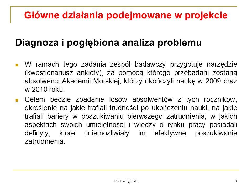 Główne działania podejmowane w projekcie Diagnoza i pogłębiona analiza problemu W ramach tego zadania zespół badawczy przygotuje narzędzie (kwestionar