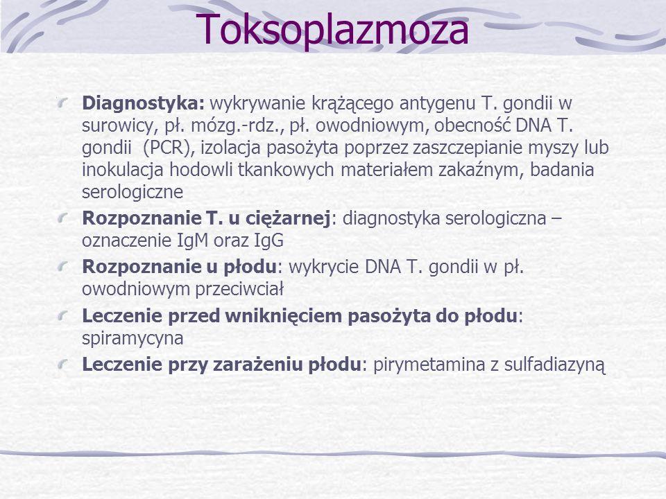 Rubella -Zakażenie pierwotne ciężarnej: wirus przedostaje się do łożyska, a następnie do płodu -Zakażenie wtórne ciężarnej: ochronny wpływ przeciwciał wytworzonych wcześniej w przebiegu zakażenia przed ciążą - Powikłania: poronienia samoistne, obumarcia wewnątrzmaciczne, zgon noworodka, wady wrodzone: Triada Greega (zaćma, głuchota, wady serca - przetrwały przewód tętniczy, ubytek w przegrodzie międzykomorowej, zwapnienie tętnicy płucnej, tetralogia Fallota), wodogłowie, upośledzenie umysłowe, po 17 t.c.