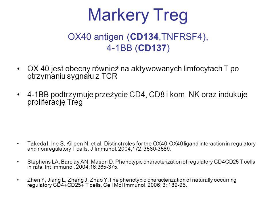 Markery Treg OX40 antigen (CD134,TNFRSF4), 4-1BB (CD137) OX 40 jest obecny również na aktywowanych limfocytach T po otrzymaniu sygnału z TCR 4-1BB pod
