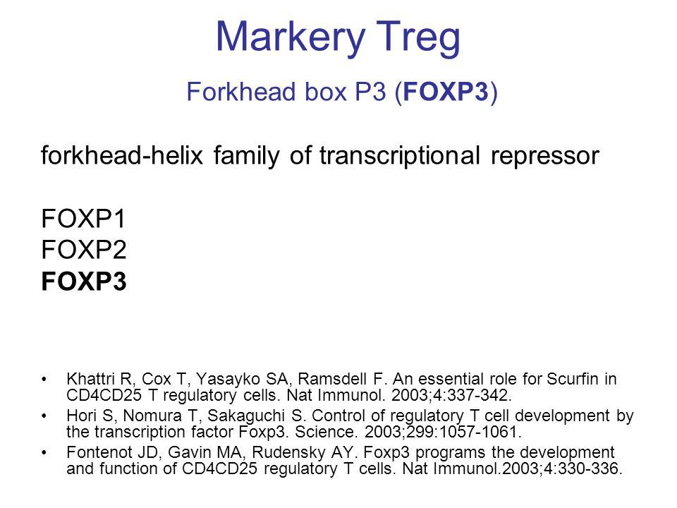 Markery Treg Forkhead box P3 (FOXP3) forkhead-helix family of transcriptional repressor FOXP1 FOXP2 FOXP3 Khattri R, Cox T, Yasayko SA, Ramsdell F. An