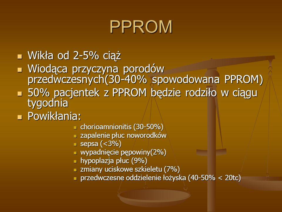 PPROM Wikła od 2-5% ciąż Wikła od 2-5% ciąż Wiodąca przyczyna porodów przedwczesnych(30-40% spowodowana PPROM) Wiodąca przyczyna porodów przedwczesnyc