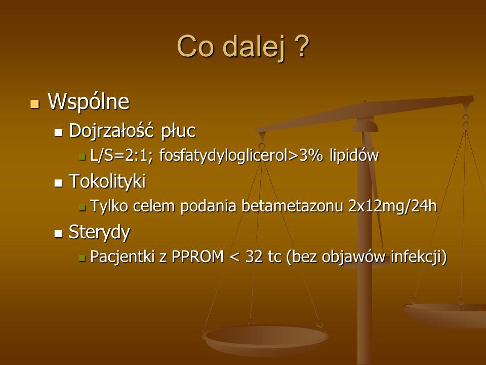 Co dalej ? Wspólne Wspólne Dojrzałość płuc Dojrzałość płuc L/S=2:1; fosfatydyloglicerol>3% lipidów L/S=2:1; fosfatydyloglicerol>3% lipidów Tokolityki