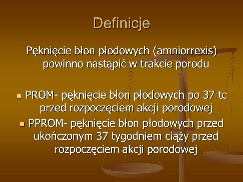 Definicje Pęknięcie błon płodowych (amniorrexis) powinno nastąpić w trakcie porodu PROM- pęknięcie błon płodowych po 37 tc przed rozpoczęciem akcji po