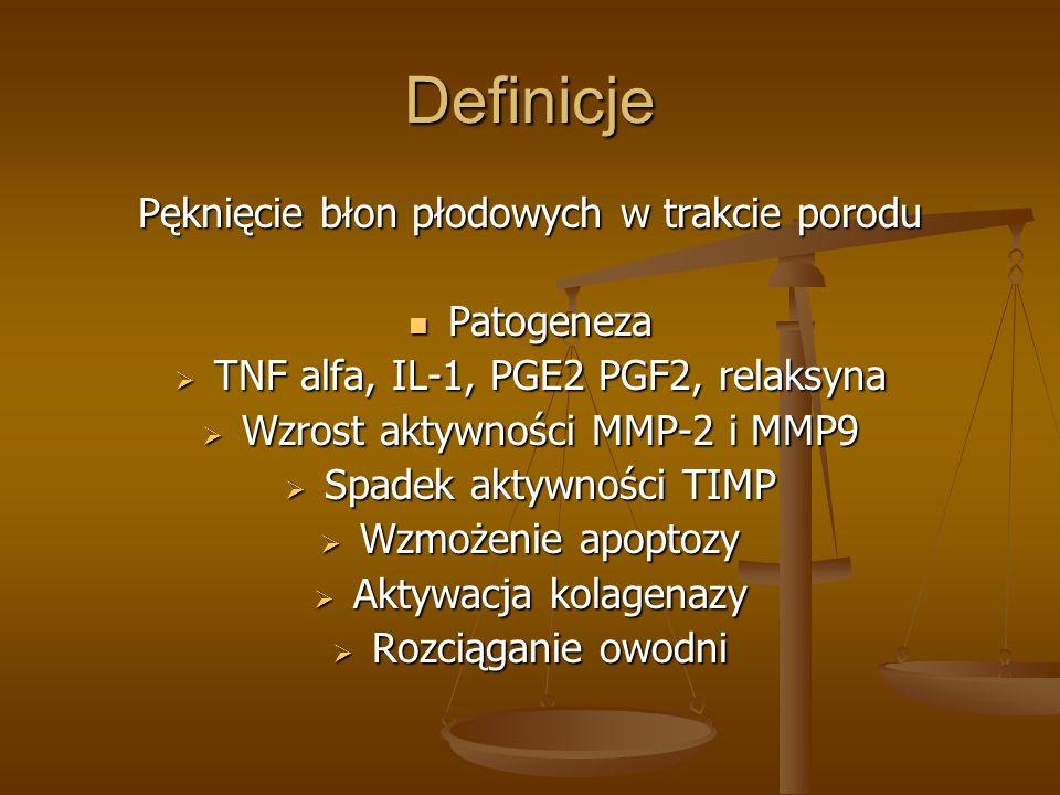 Definicje Pęknięcie błon płodowych w trakcie porodu Patogeneza Patogeneza TNF alfa, IL-1, PGE2 PGF2, relaksyna TNF alfa, IL-1, PGE2 PGF2, relaksyna Wz