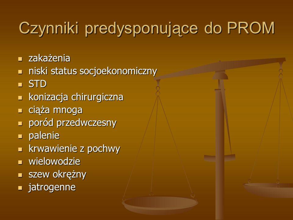 Czynniki predysponujące do PROM zakażenia zakażenia niski status socjoekonomiczny niski status socjoekonomiczny STD STD konizacja chirurgiczna konizac