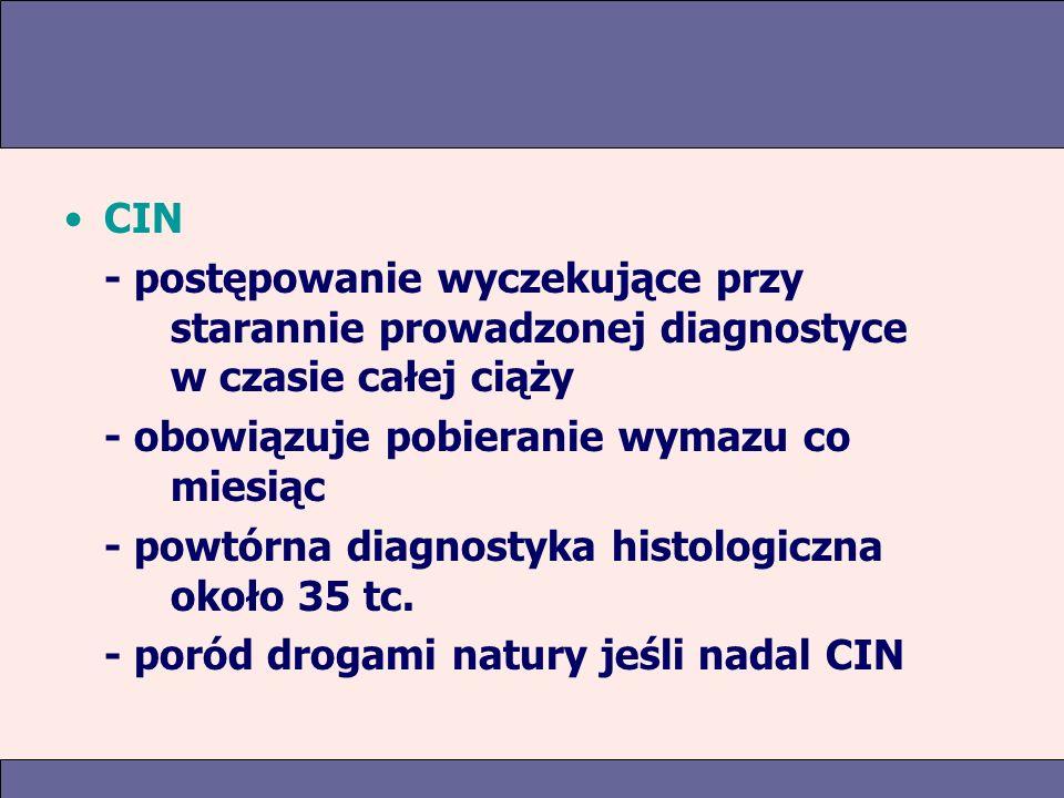 CIN - postępowanie wyczekujące przy starannie prowadzonej diagnostyce w czasie całej ciąży - obowiązuje pobieranie wymazu co miesiąc - powtórna diagnostyka histologiczna około 35 tc.