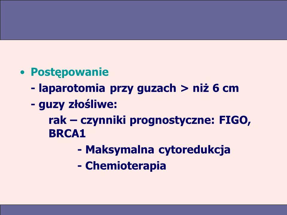 Postępowanie - laparotomia przy guzach > niż 6 cm - guzy złośliwe: rak – czynniki prognostyczne: FIGO, BRCA1 - Maksymalna cytoredukcja - Chemioterapia