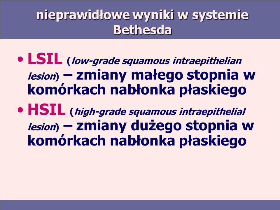 nieprawidłowe wyniki w systemie Bethesda LSIL (low-grade squamous intraepithelian lesion) – zmiany małego stopnia w komórkach nabłonka płaskiego HSIL (high-grade squamous intraepithelial lesion) – zmiany dużego stopnia w komórkach nabłonka płaskiego