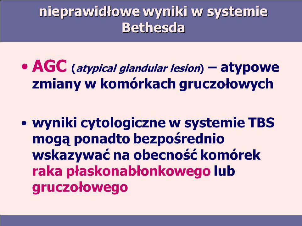 nieprawidłowe wyniki w systemie Bethesda AGC (atypical glandular lesion) – atypowe zmiany w komórkach gruczołowych wyniki cytologiczne w systemie TBS mogą ponadto bezpośrednio wskazywać na obecność komórek raka płaskonabłonkowego lub gruczołowego