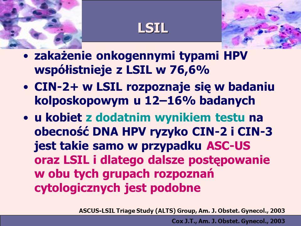LSIL zakażenie onkogennymi typami HPV współistnieje z LSIL w 76,6% CIN-2+ w LSIL rozpoznaje się w badaniu kolposkopowym u 12–16% badanych u kobiet z dodatnim wynikiem testu na obecność DNA HPV ryzyko CIN-2 i CIN-3 jest takie samo w przypadku ASC-US oraz LSIL i dlatego dalsze postępowanie w obu tych grupach rozpoznań cytologicznych jest podobne ASCUS-LSIL Triage Study (ALTS) Group, Am.