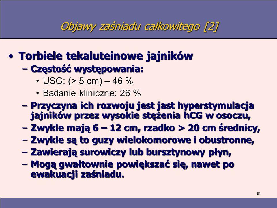 51 Objawy zaśniadu całkowitego [2] Torbiele tekaluteinowe jajnikówTorbiele tekaluteinowe jajników –Częstość występowania: USG: (> 5 cm) – 46 %USG: (> 5 cm) – 46 % Badanie kliniczne: 26 %Badanie kliniczne: 26 % –Przyczyna ich rozwoju jest jast hyperstymulacja jajników przez wysokie stężenia hCG w osoczu, –Zwykle mają 6 – 12 cm, rzadko > 20 cm średnicy, –Zwykle są to guzy wielokomorowe i obustronne, –Zawierają surowiczy lub bursztynowy płyn, –Mogą gwałtownie powiększać się, nawet po ewakuacji zaśniadu.