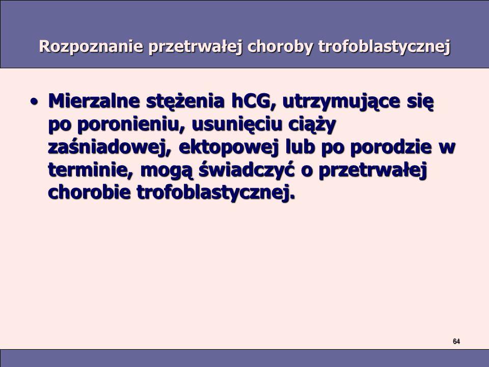 64 Rozpoznanie przetrwałej choroby trofoblastycznej Mierzalne stężenia hCG, utrzymujące się po poronieniu, usunięciu ciąży zaśniadowej, ektopowej lub po porodzie w terminie, mogą świadczyć o przetrwałej chorobie trofoblastycznej.Mierzalne stężenia hCG, utrzymujące się po poronieniu, usunięciu ciąży zaśniadowej, ektopowej lub po porodzie w terminie, mogą świadczyć o przetrwałej chorobie trofoblastycznej.