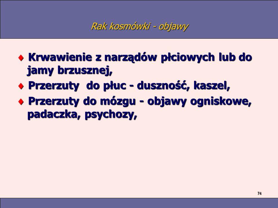 74 Rak kosmówki - objawy Krwawienie z narządów płciowych lub do jamy brzusznej, Krwawienie z narządów płciowych lub do jamy brzusznej, Przerzuty do płuc - duszność, kaszel, Przerzuty do płuc - duszność, kaszel, Przerzuty do mózgu - objawy ogniskowe, padaczka, psychozy, Przerzuty do mózgu - objawy ogniskowe, padaczka, psychozy,