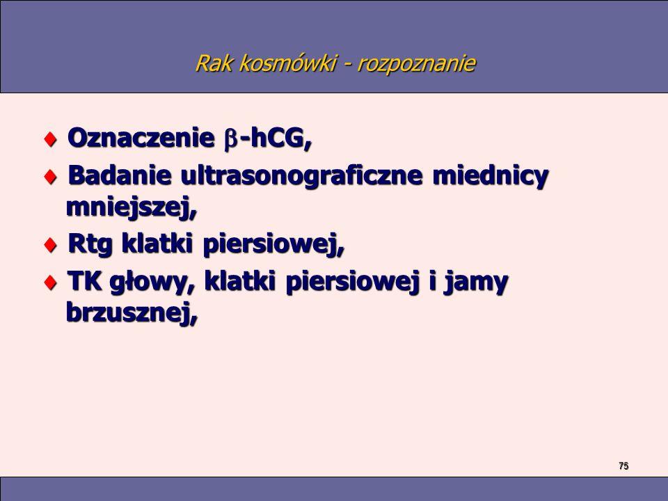 75 Rak kosmówki - rozpoznanie Oznaczenie -hCG, Oznaczenie -hCG, Badanie ultrasonograficzne miednicy mniejszej, Badanie ultrasonograficzne miednicy mniejszej, Rtg klatki piersiowej, Rtg klatki piersiowej, TK głowy, klatki piersiowej i jamy brzusznej, TK głowy, klatki piersiowej i jamy brzusznej,