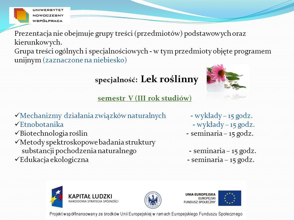 semestr VI (III rok studiów) Kosmetologia i balneoterapia - wykłady - 30 godz.