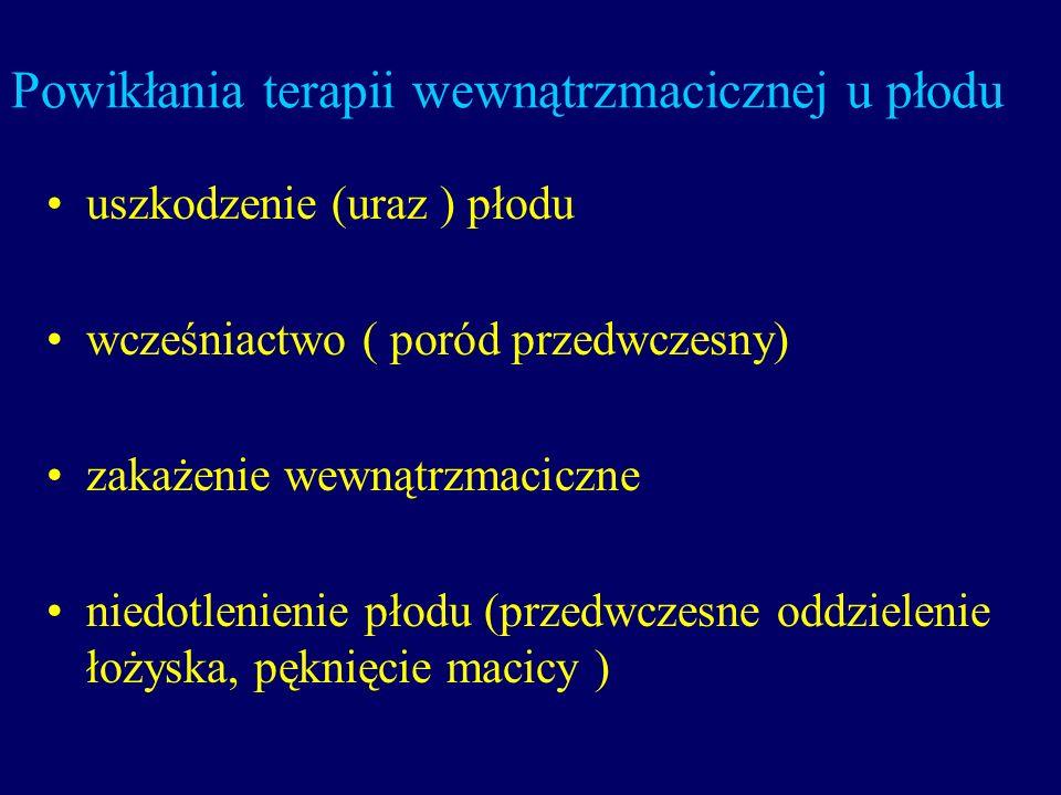 Powikłania terapii wewnątrzmacicznej u płodu uszkodzenie (uraz ) płodu wcześniactwo ( poród przedwczesny) zakażenie wewnątrzmaciczne niedotlenienie pł