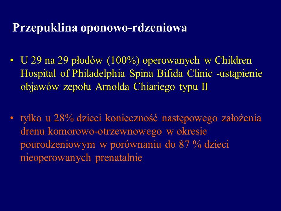 Przepuklina oponowo-rdzeniowa U 29 na 29 płodów (100%) operowanych w Children Hospital of Philadelphia Spina Bifida Clinic -ustąpienie objawów zepołu