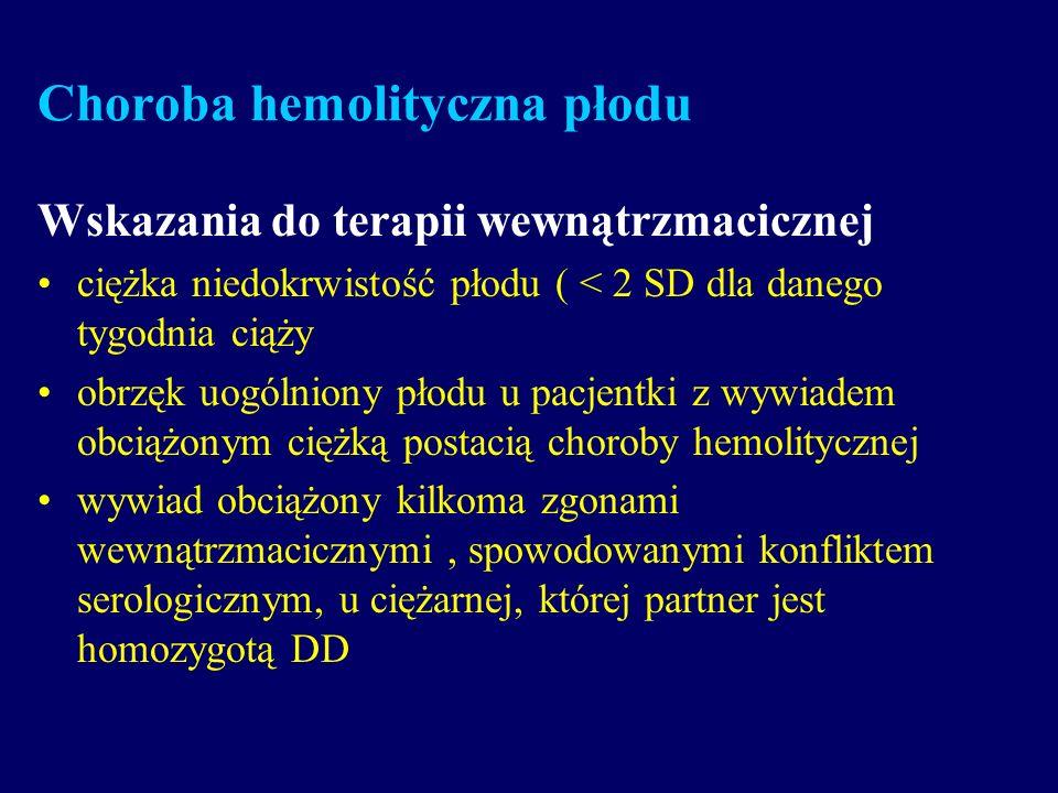 Choroba hemolityczna płodu Wskazania do terapii wewnątrzmacicznej ciężka niedokrwistość płodu ( < 2 SD dla danego tygodnia ciąży obrzęk uogólniony pło