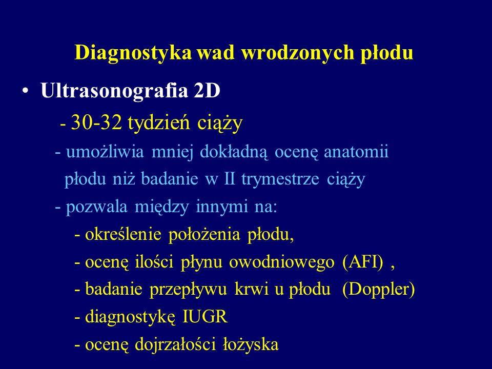 Diagnostyka wad wrodzonych płodu Ultrasonografia 2D - 30-32 tydzień ciąży - umożliwia mniej dokładną ocenę anatomii płodu niż badanie w II trymestrze