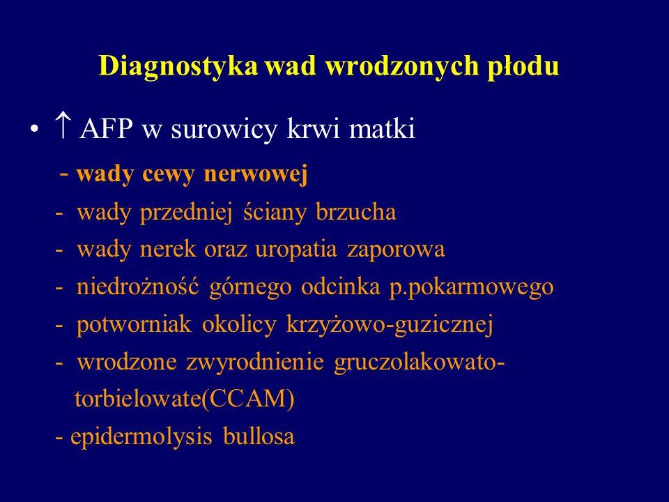 Diagnostyka wad wrodzonych płodu AFP w surowicy krwi matki - wady cewy nerwowej - wady przedniej ściany brzucha - wady nerek oraz uropatia zaporowa -