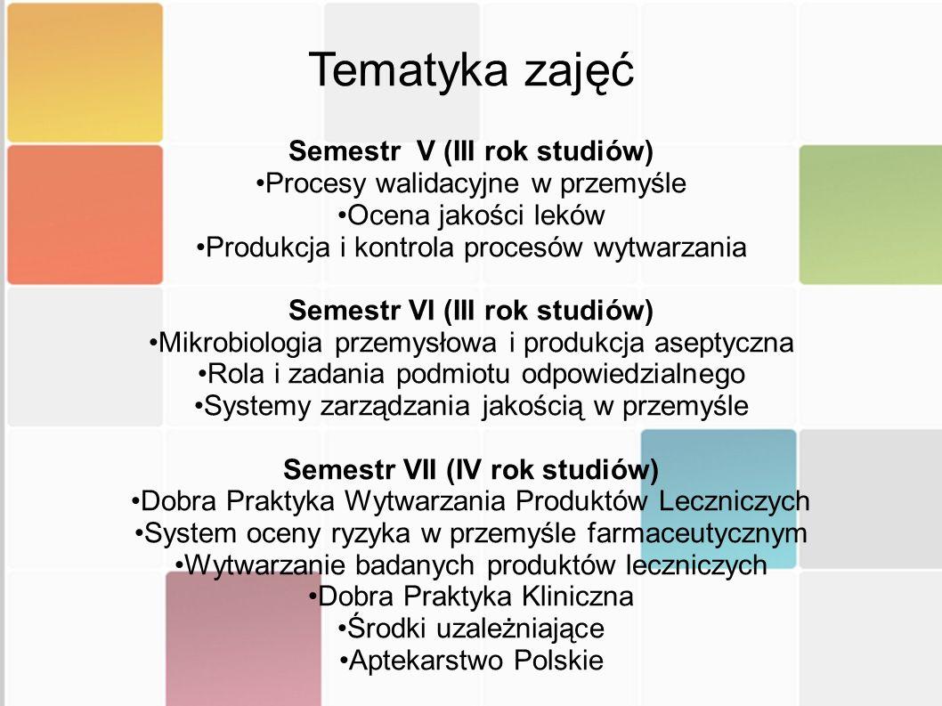 Semestr VIII (IV rok studiów) Metody projektowania leków Leki pochodzenia naturalnego Profilaktyka żywieniowa i suplementacja diety Semestr IX (V rok studiów) Nowoczesne metody analizy fitochemicznej Dobra Praktyka Dystrybucyjna Liczba studentów którzy mogą być kształceni w ramach specjalności farmacja przemysłowa jest ograniczona do 30 osób.