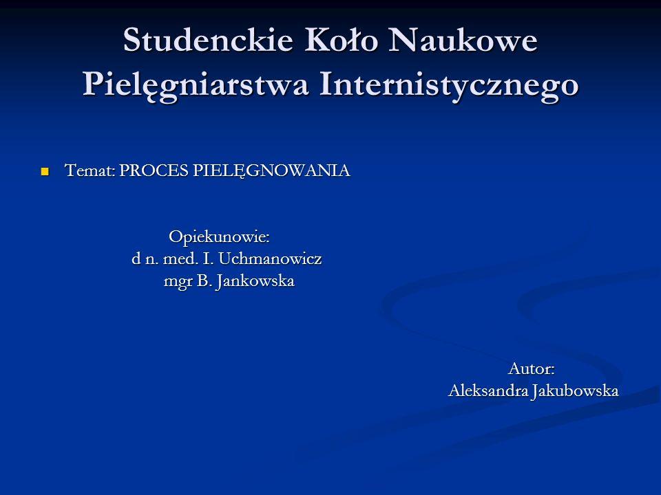 Studenckie Koło Naukowe Pielęgniarstwa Internistycznego Temat: PROCES PIELĘGNOWANIA Temat: PROCES PIELĘGNOWANIA Opiekunowie: Opiekunowie: d n. med. I.