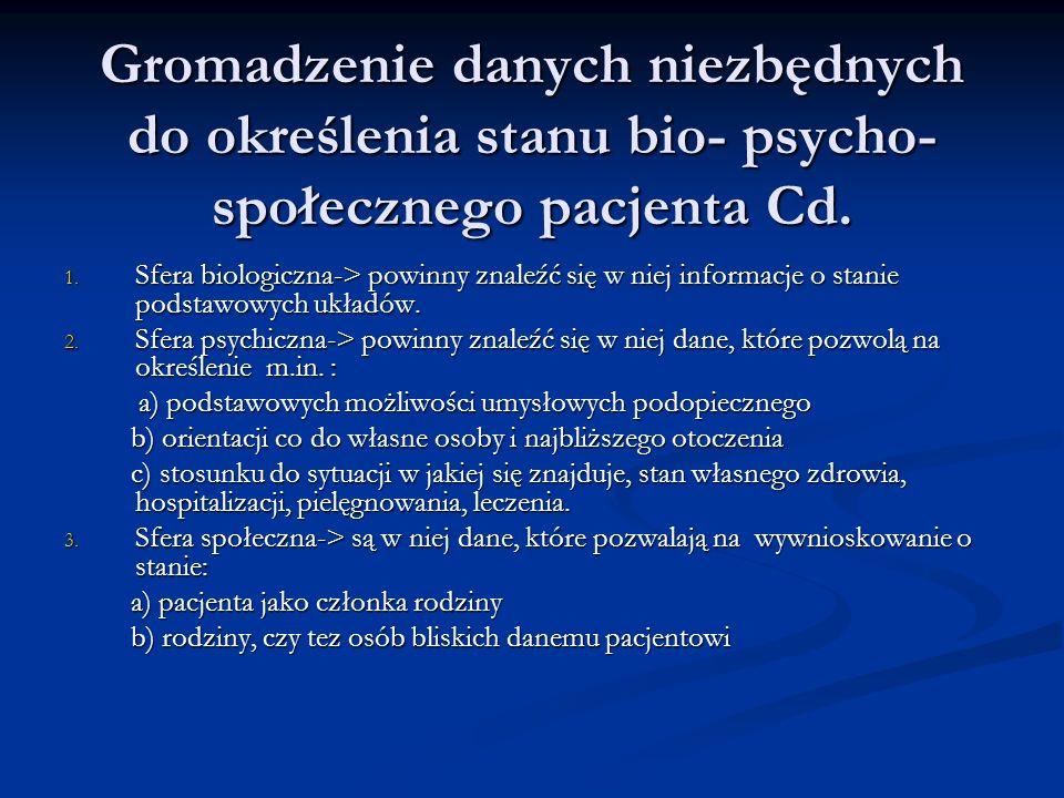 Gromadzenie danych niezbędnych do określenia stanu bio- psycho- społecznego pacjenta Cd. 1. Sfera biologiczna-> powinny znaleźć się w niej informacje